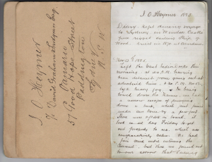 The opening pages of James Oliver Heymer's diary.